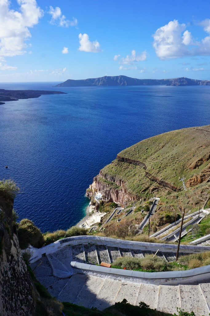 The most amazing hike in the whole of Santorini starts here, in Thira. Walk to the old harbor in Thira