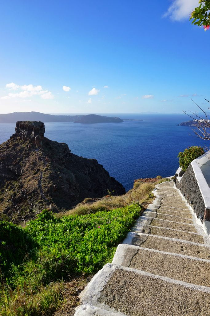 The most amazing hike in the whole of Santorini starts here, in Thira. Incredible views of Skaros Rock.